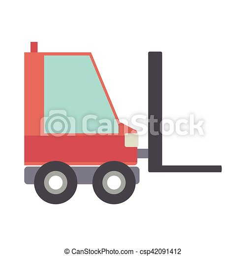 silhouette forklift truck with forks - csp42091412