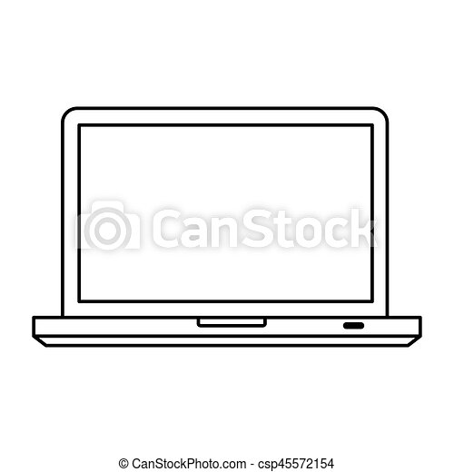 silhouette front view tech laptop icon - csp45572154