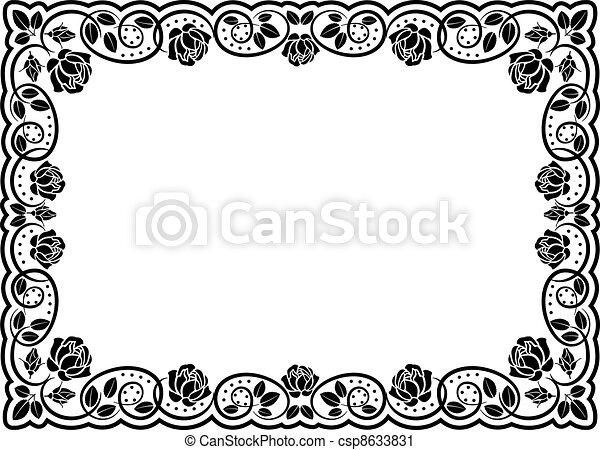 silhouette, frontière, rose - csp8633831