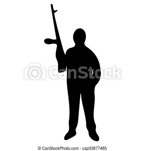 silhouette, fusil, homme - csp33877485