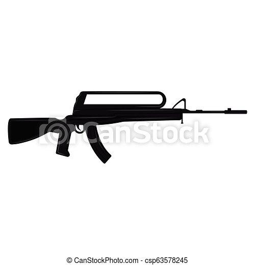silhouette, fusil - csp63578245