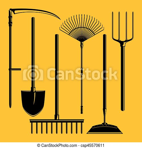 Silhouette Garden Equipment Isolated - csp45570611