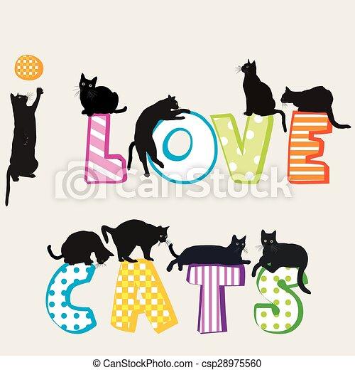 silhouette, gatti, amore, scheda - csp28975560
