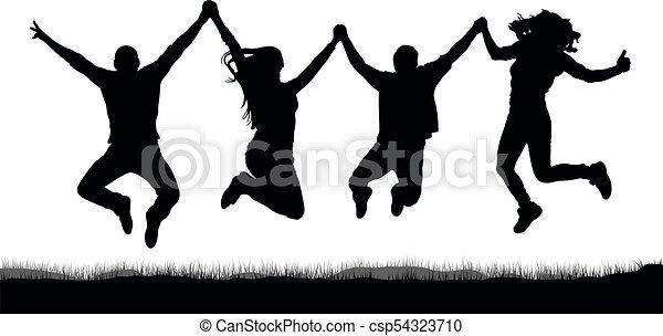 silhouette, gens, amis, tenant mains, sauter, heureux - csp54323710
