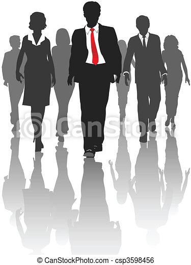Business Silhouette Menschen gehen mit Humanressourcen - csp3598456