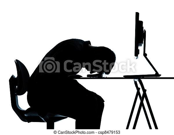 silhouette, geschaeftswelt, muede, rechnen, eins, edv, eingeschlafen, mann - csp8479153