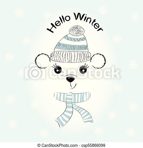 silhouette, gestrickt, reizend, wenig, kappe, bär, scarf. - csp55866099
