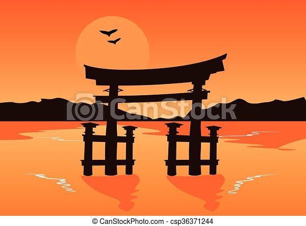 Silhouette giapponese lago tramonto cancello tempio for Laghetto giapponese
