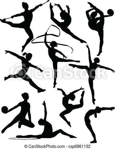 silhouette, ginnastico, ritmico - csp6861132