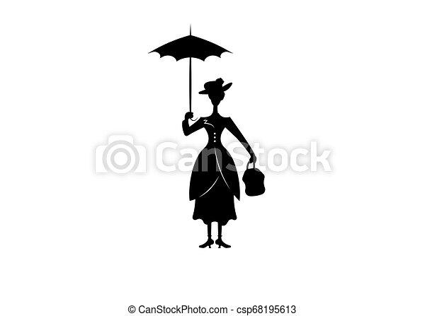 Silhouette girl floats with umbrella in his hand, vector ...