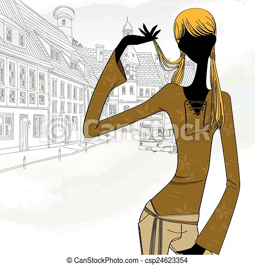 silhouette girl in the city - csp24623354