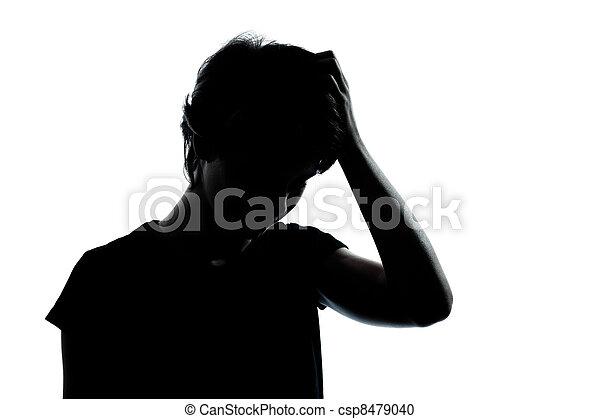 silhouette, girl, pensée, problèmes, adolescent, garçon, une, ou, jeune - csp8479040