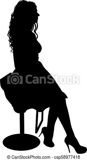 silhouette, girl, séance, fond, blanc, chaise - csp58977418