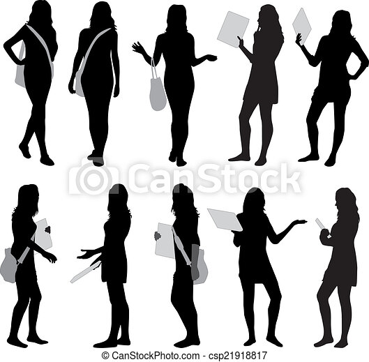silhouette girls  - csp21918817