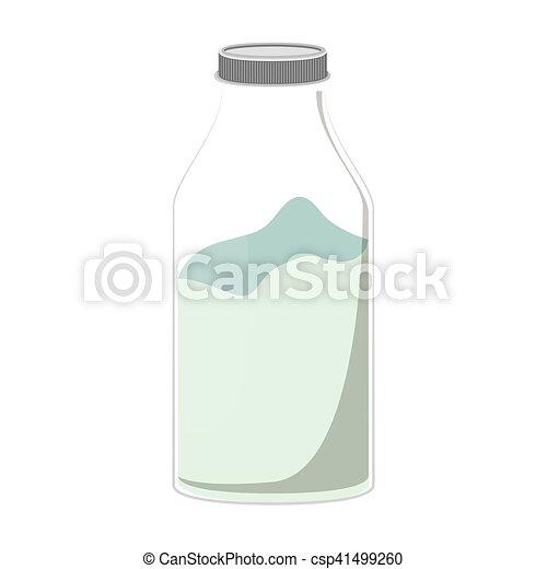 silhouette glass bottle with milk liquid - csp41499260