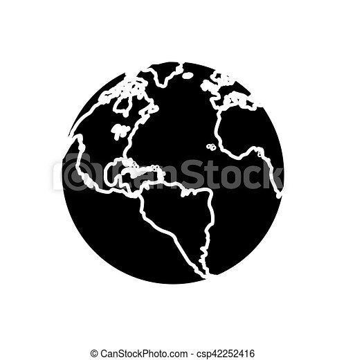 Silhouette globe map world earth business icon vector vector clip silhouette globe map world earth business icon csp42252416 gumiabroncs Images