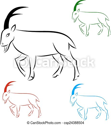 Silhouette goral on white background, vector - csp24388504