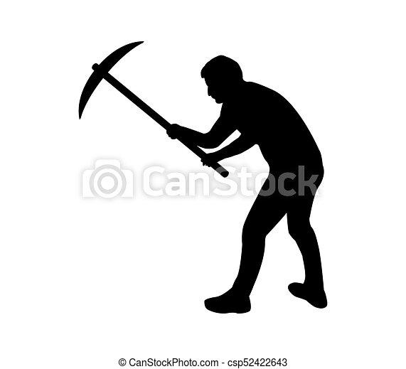 silhouette, graven, man - csp52422643