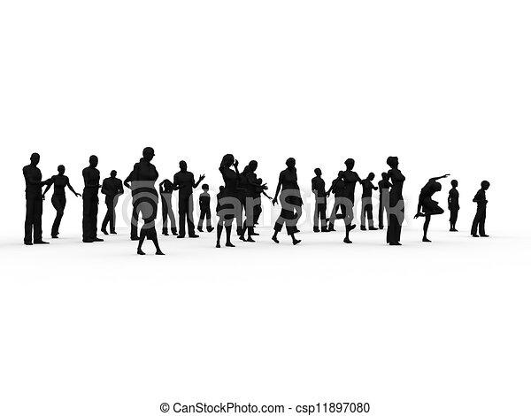 silhouette, groep, mensen - csp11897080