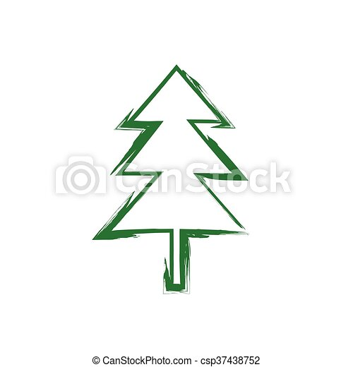 Silhouette Grunge Weihnachtsbaum Vektor Spruce Grunge Baum