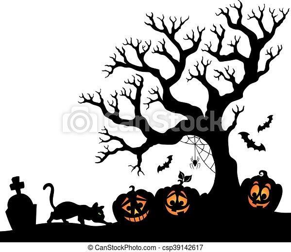 Silhouette, halloween, baum Vektor Clipart - Suchen Sie Illustration ...
