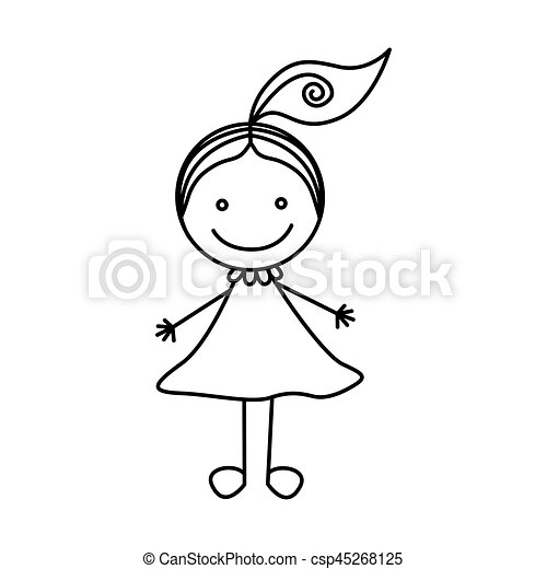 silhouette hand drawing cute girl with ponytail vector