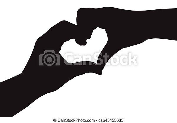 Line Drawing Heart Shape : Silhouette hand in heart shape vectors search clip art