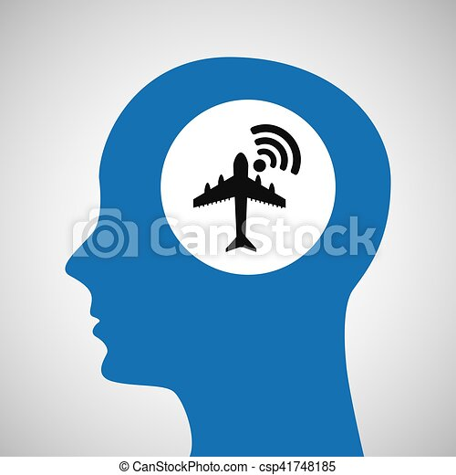 silhouette head airport wifi icon - csp41748185