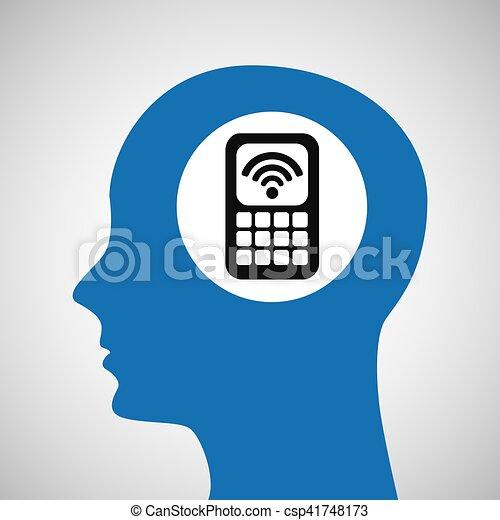 silhouette head cellphone wifi icon - csp41748173