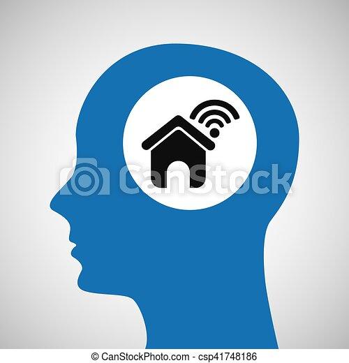 silhouette head house wifi icon - csp41748186