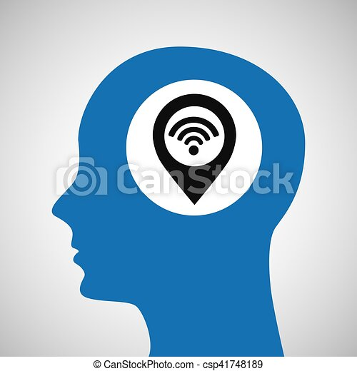 silhouette head location wifi icon - csp41748189