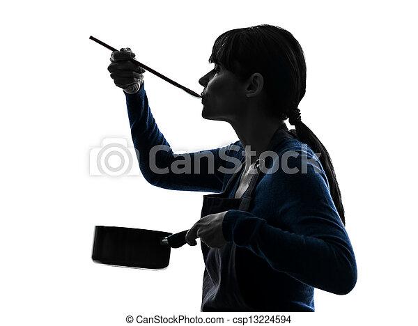 silhouette, het koken, vrouw, pan, proeft - csp13224594