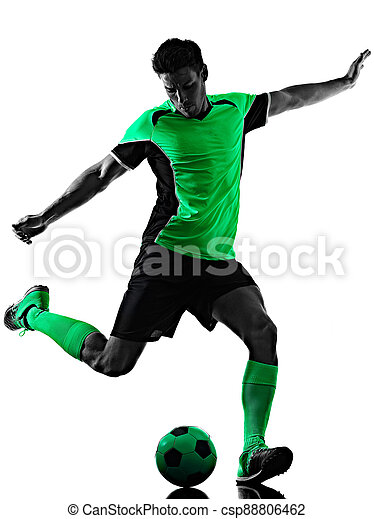 silhouette, hintergrund, junger, fußball, mann, spieler, freigestellt, schatten, weißes - csp88806462