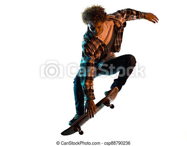 silhouette, hintergrund, skateboarder, junger mann, skateboardfahren, freigestellt, schatten, weißes - csp88790236