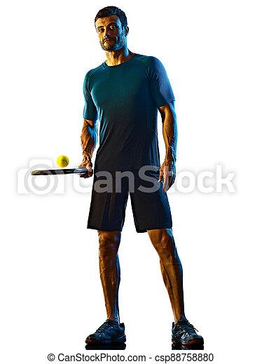 silhouette, hintergrund, tennis, mann, spieler, freigestellt, fällig, schatten, weißes - csp88758880
