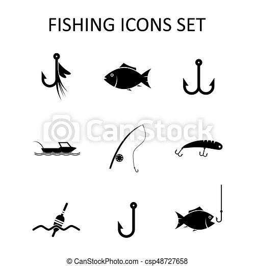 silhouette, iconen, set., illustratie, vector, visserij - csp48727658