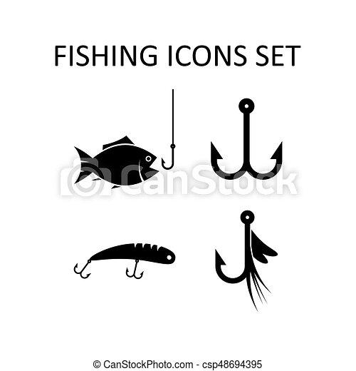 silhouette, iconen, set., vector, visserij, tekens & borden - csp48694395