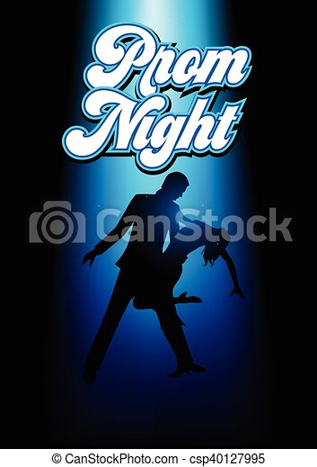 Silhouette illustration of a couple dancing - csp40127995