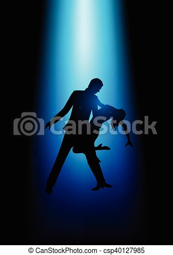 Silhouette illustration of a couple dancing - csp40127985