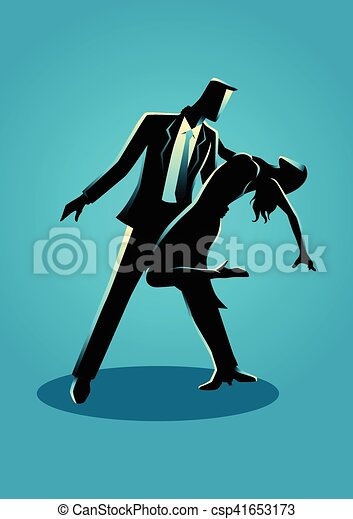 Silhouette illustration of a couple dancing - csp41653173