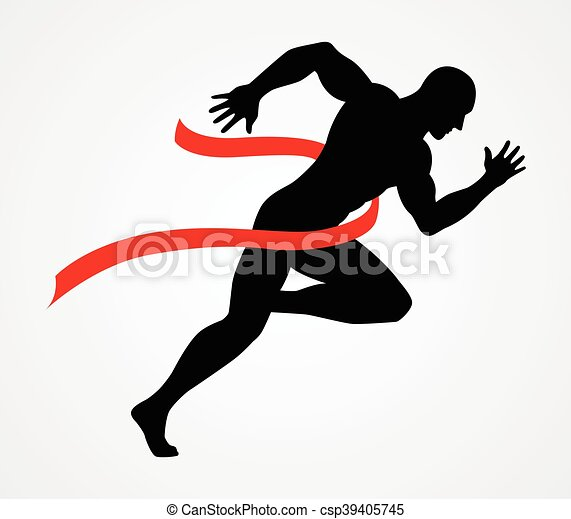 Silhouette illustration of a sprinter at finish line - csp39405745