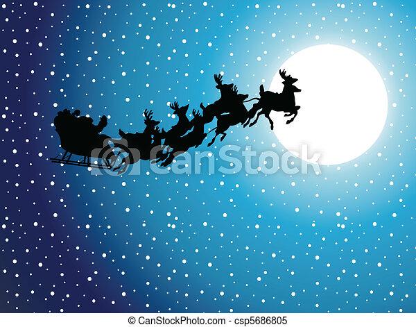 silhouette illustration of flying santa and christmas reindeer - Santa Reindeer