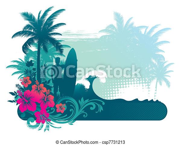silhouette, -, illustration, surfeur, vecteur, atropical, paysage - csp7731213