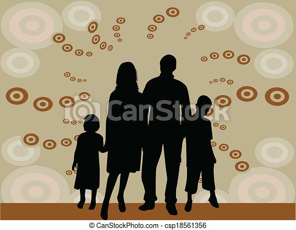 silhouette, illustrazione, -, famiglia, vettore - csp18561356