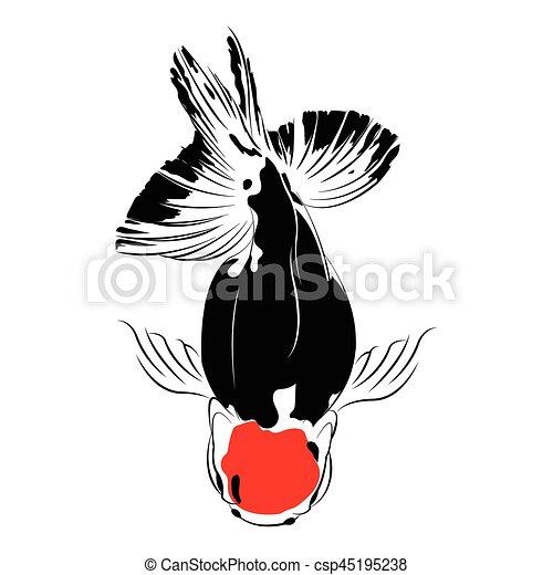 silhouette, isolated., carpe, vecteur, noir, poisson rouge - csp45195238
