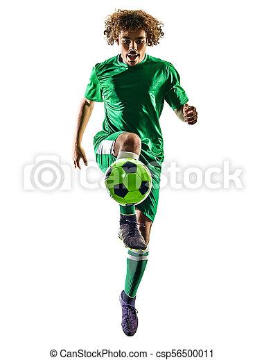 silhouette, junger, freigestellt, spieler, teenager, fußball, mann - csp56500011