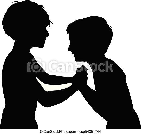 silhouette, kinderen, vecht - csp54351744