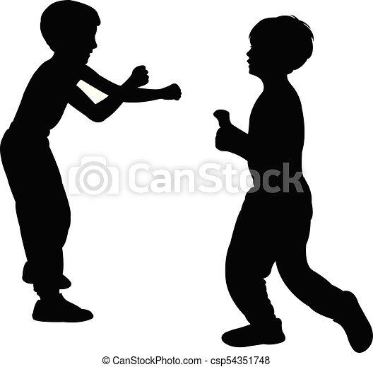 silhouette, kinderen, vecht - csp54351748