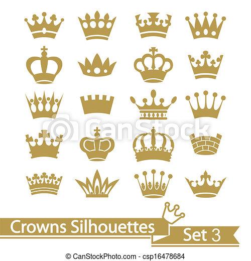 silhouette, krone, vektor, -, sammlung - csp16478684
