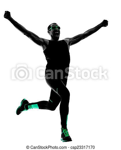 silhouette, läufer, rennender , jogger, jogging, mann - csp23317170